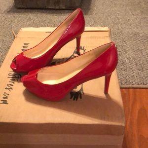 Red peep toe Liz Claiborne pumps
